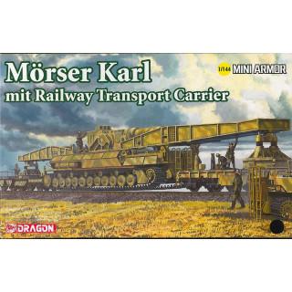 Model Kit military 14132 - Morser Karl mit Railway Transporter Carrier (1:144)