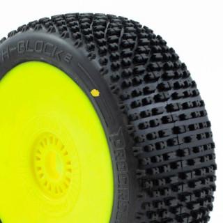 H-BLOCK V2 BUGGY C2 (SOFT) nalepené gumy, žluté disky (2 ks.)