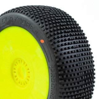 CLAYMORE V2 BUGGY C3 (MEDIUM) nalepené gumy, žluté disky (2 ks.)