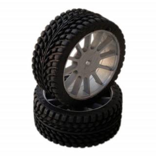 1/10 GT Sport/Rally gumy nalepené gumy, šedé disky, 2ks.
