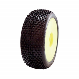 1/8 DEMOLITION COMPETITION OFF ROAD gumy nalepené gumy, SUPER SOFT směs, žluté disky, 2ks.