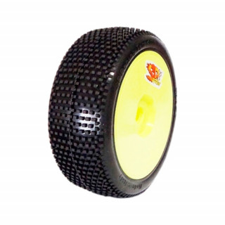 1/8 RICKY COMPETITION OFF ROAD gumy nalepené gumy, EX.SUP.S. směs, žluté disky, 2ks.