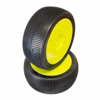 1/8 MICRO PIN COMPETITION OFF ROAD gumy nalepené gumy, HYPER SOFT směs, žluté disky, 2ks.