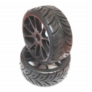 1/10 GT SPORT 26mm pro mokré podmínky nalepené gumy, bílé disky, 2ks.