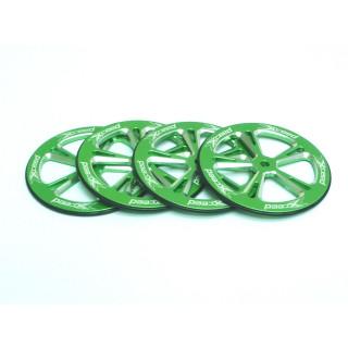 Hliníkové set-up kolečka 1/10 On-Road, zelené, 4 ks.
