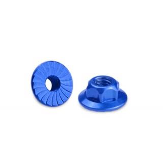 4mm Alu matky s velkou plochou a drážkované - modré - 4ks.